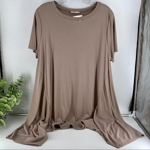 Jodifl Beige Short Sleeve Sharkbite Tunic Top